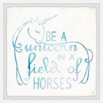 Marmont Hill Blue Unicorn in a Field of Horses Framed Wall Art