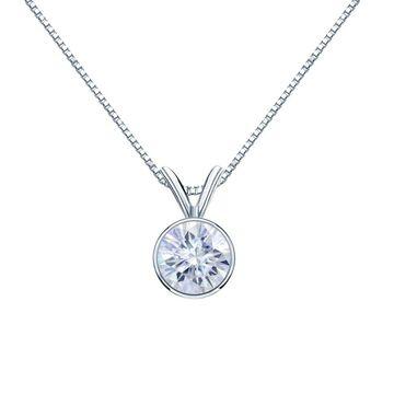 Auriya 14k Gold 1ctw Solitaire Moissanite Necklace Bezel-set - 6.5 mm (White)