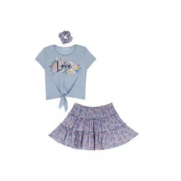 Beautees Girls' Girls 7-16 2 Piece Love Graphic Top And Skirt Set With Scrunchie - -