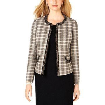 Kasper Womens Tweed Jacket Plaid Business - 8