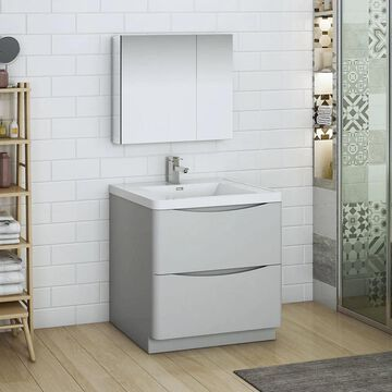 Fresca Senza 32-in Glossy Gray Single Sink Bathroom Vanity with White Acrylic Top (Faucet Included) | FVN9132GRG