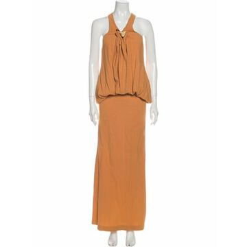 Halterneck Long Dress Orange