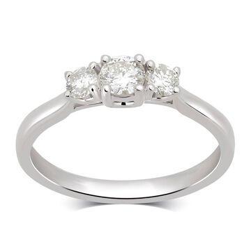 Divina 14KT White Gold 1/2ct TDW Diamond 3 Stone Engagement Ring