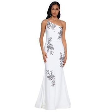 Xscape Petite One-Shoulder Embroidered Gown