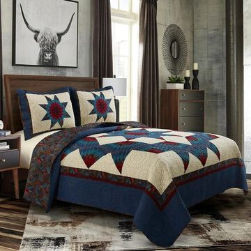 Donna Sharp Lark Broken Star 3pc Cotton Quilt Set (Full - Queen)