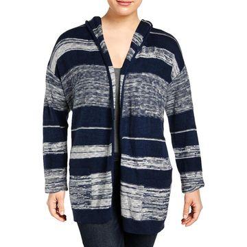 NYDJ Womens Cardigan Sweater Hooded Striped - XL