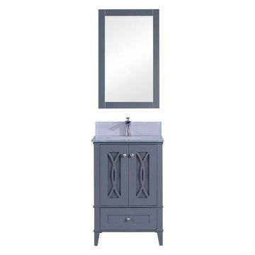 Legion Furniture Legion Furniture Single Vanity w/ Mirror Set, Dark Gr