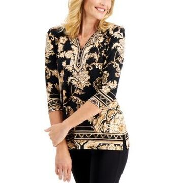 Jm Collection Petite Y-Neck Tunic, Created for Macy's