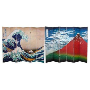 Oriental Furniture 6 Ft Tall Double Sided Hokusai Room Divider, Great Wave/Red Fuji, 6 panel