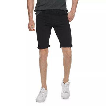 Men's XRAY Slim-Fit Washed Roll-Up Denim Shorts, Size: 34, Black