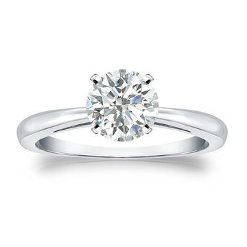 Auriya Platinum 1 carat TW Round Solitaire Diamond Engagement Ring