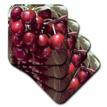 3dRose Cherry, Soft Coasters, set of 8