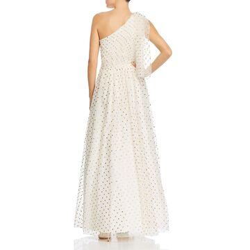 Eliza J Womens Evening Dress Polka Dot One Shoulder - Ivory