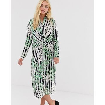 QED London midi shirt dress with knot front detail in stripe and leaf print