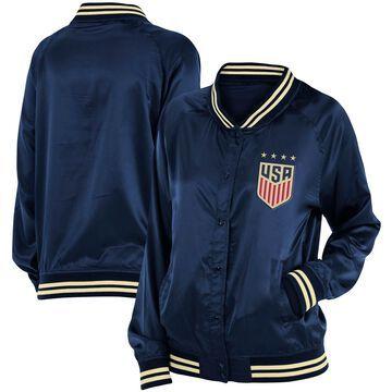 Women's 5th & Ocean by New Era Navy USWNT Full-Snap Satin Jacket