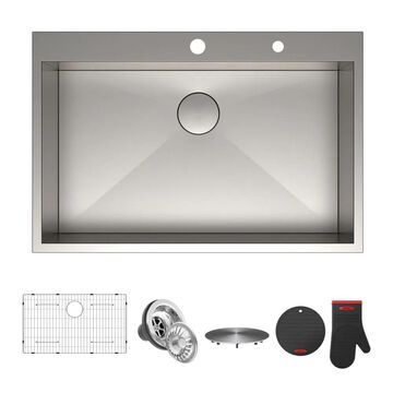 Kraus Pax Drop-In 33-in x 22-in Satin Single Bowl 2-Hole Kitchen Sink Stainless Steel | KP1TS33S-2