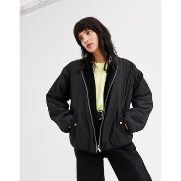 Weekday candace reversible jacket in black