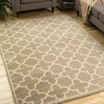 Style Haven Casual Trellis Brown/Tan Polypropylene Area Rug (9'10 x 12'10) - 9'10