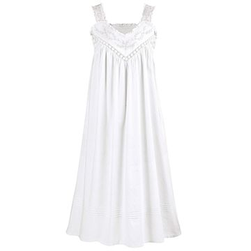 La Cera Cotton Chemise - Lace V-Neck Nightgown with Pockets Nightgown