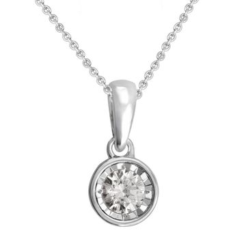 Divina Sterling Silver 1/4ct TDW Diamond Solitaire Pendant