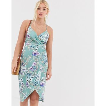QED London wrap front slip dress in mint floral