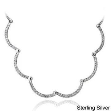 Icz Stonez Sterling Silver 3 7/8ct TGW Cubic Zirconia Wavy Necklace (White - Sterling Silver)