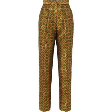 Saloni - Maxima Floral Brocade Tapered Pants - Gold