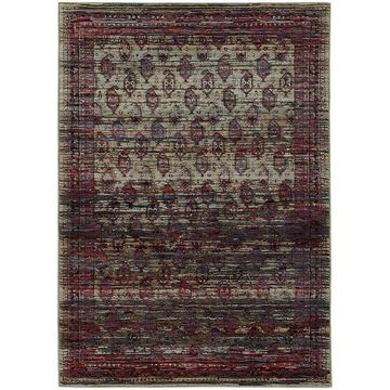 Distressed Border Panel Multi/Red Area Rug - 7'10