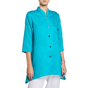 Plus Size Tissue Linen Side Fall Shirt