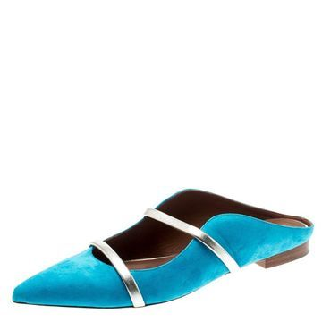 Malone Souliers Blue Suede Maureen Pointed Toe Mules Size 39