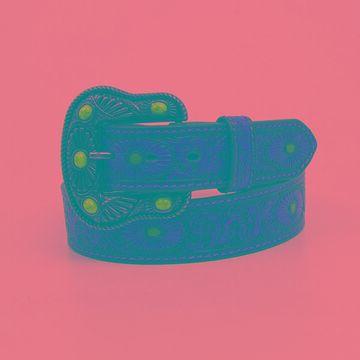 N3412002-XL 1.50 in. Oval Burst & Scroll Embossed Turquoise Painted Ladies Belt & Buckle, Brown - Extra Large