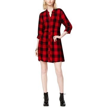 maison Jules Womens Plaid Shirt Dress