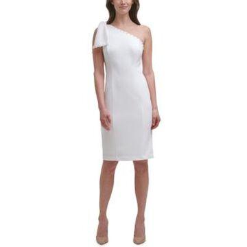 Eliza J Petite One-Shoulder Bow Sheath Dress