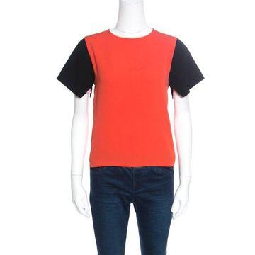 Celine Orange Contrast Sleeve Crepe Top M