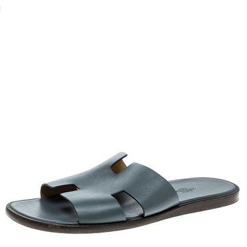 Hermes Grey Leather Izmir Sandals Size 43