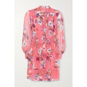 Erdem - Remy Pussy-bow Floral-print Silk Crepe De Chine Mini Dress - Bubblegum