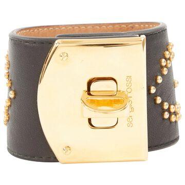 Sergio Rossi Black Leather Bracelets