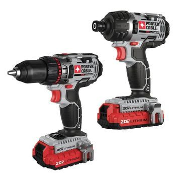 Porter-Cable 20V Lithium-Ion Cordless Tool Combo Kit with Drill/Driver and Impact Driver