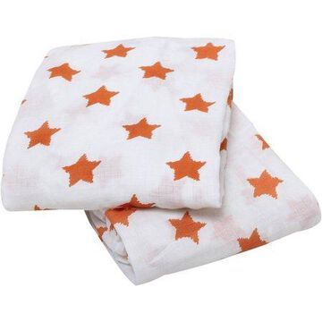 Bacati - Stars Crib/Toddler Bed Fitted Sheets 100% Cotton Muslin 2 Pack, Orange