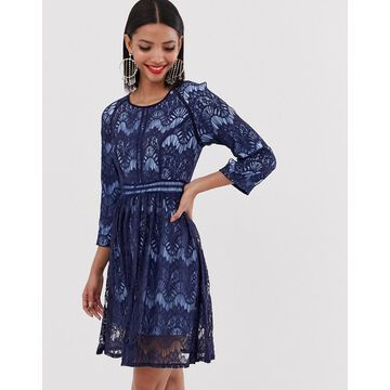 Liquorish lace skater dress-Navy