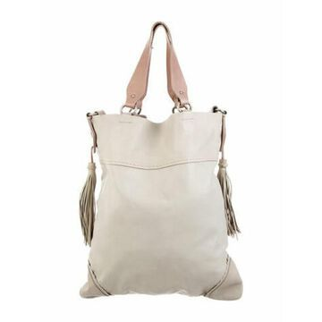Leather Tassel Tote Silver