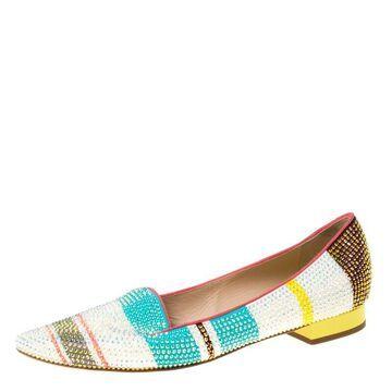 Rene Caovilla Multicolor Crystal Embellished Slip On Flats Size 38.5