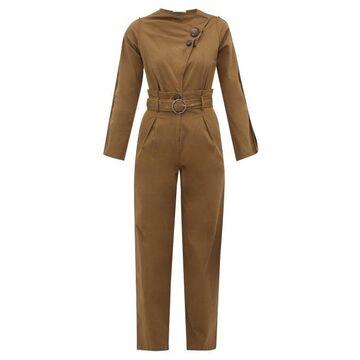 Sea - Scout Belted Cotton-blend Jumpsuit - Womens - Khaki