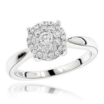 Luxurman Diamond Cluster Engagement Ring 0.55ct 14K