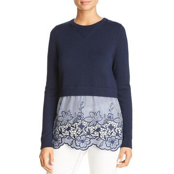 Elie Tahari Womens Candra Wool Lace Panel Sweater