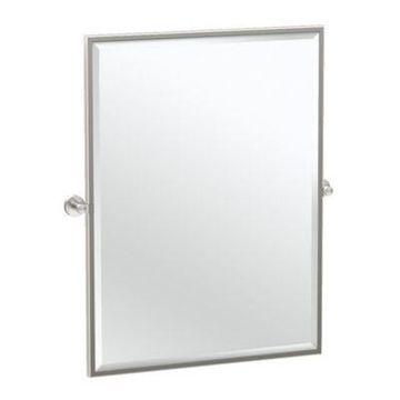 Gatco Glam 25-Inch Framed Oval Mirror in Satin Nickel
