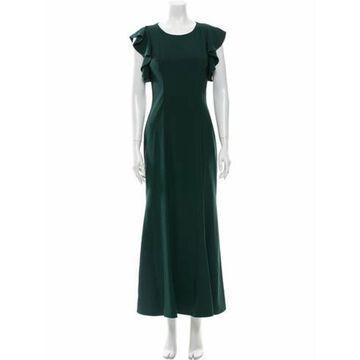 Crew Neck Long Dress Green