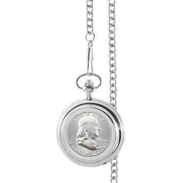 American Coin Treasures Silver Franklin Half Dollar Pocket Watch