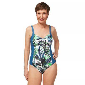 Women's Amoena Modern Jungle Half Bodice UPF 50 One-Piece Swimsuit, Size: 8C, Blue