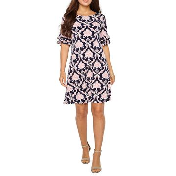Ronni Nicole Short Tiered Sleeve Medallion Puff Print Sheath Dress